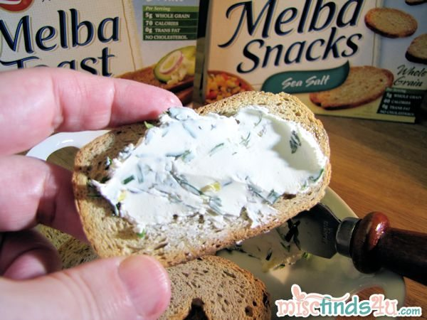 Herbed cream cheese spread and Old London Melba Toast Snacks