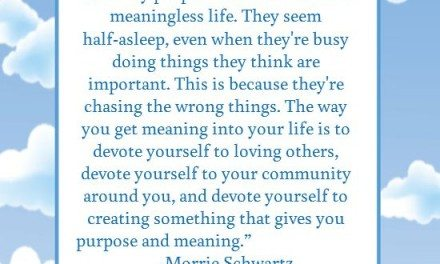 Quote: Morrie Schwartz – The Meaning of Life, Devote Yourself to Loving Others
