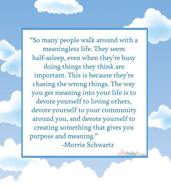Morrie Quote - people walk around with a meaningless life