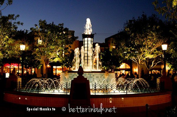 Buena Vista Street Fountain at night - Disney California Adventure