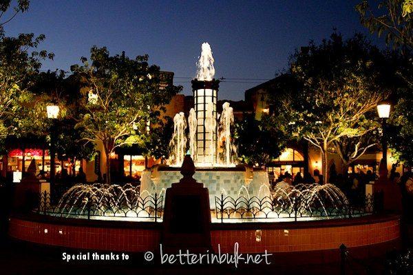 Buena Vista Street Fountain at night - Disney California Adventure