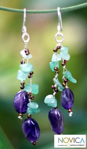 Aventurine and Amethyst dangle earrings 'Lianas' from Nareerat via Novica
