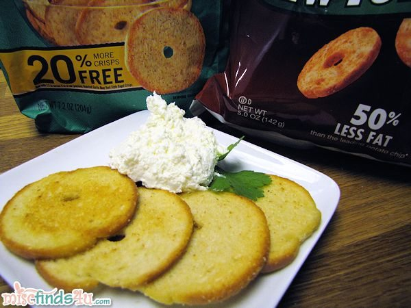 New York Style Bagel Crisps - Roasted Garlic with Whipped Cream Cheese