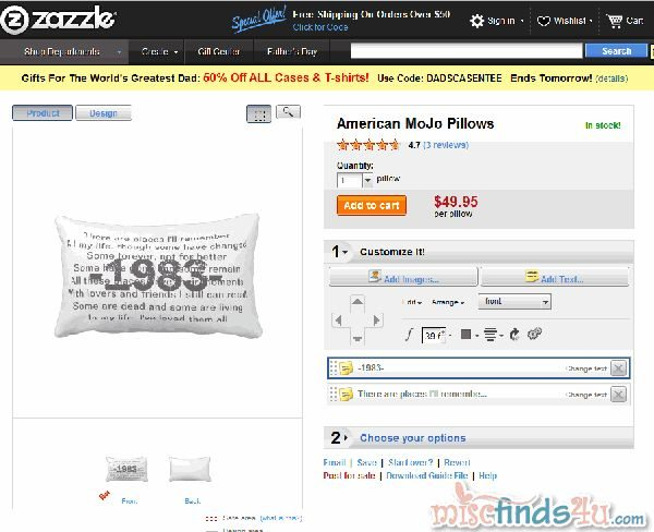 My Zazzle order page showing what my finished pillow will look like