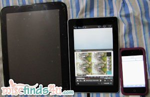 Size comparison - HP Touchpad, T-Mobile SpringPad, and Apple iPod Touch 4G