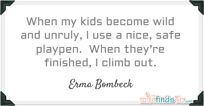 When my kids become wild and unruly, I use a nice, safe playpen.  When they're finished, I climb out.  ~Erma Bombeck