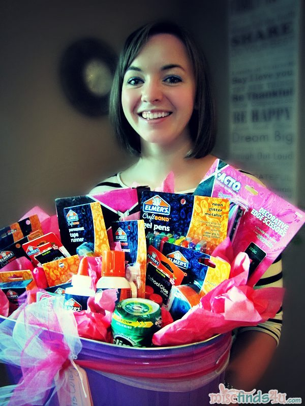 #cbias Teacher Katie accepts her back-to-school with Elmer's Glue Gift Basket