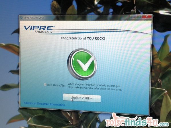 Installation was quick and easy - love VIPRE's sense of humor