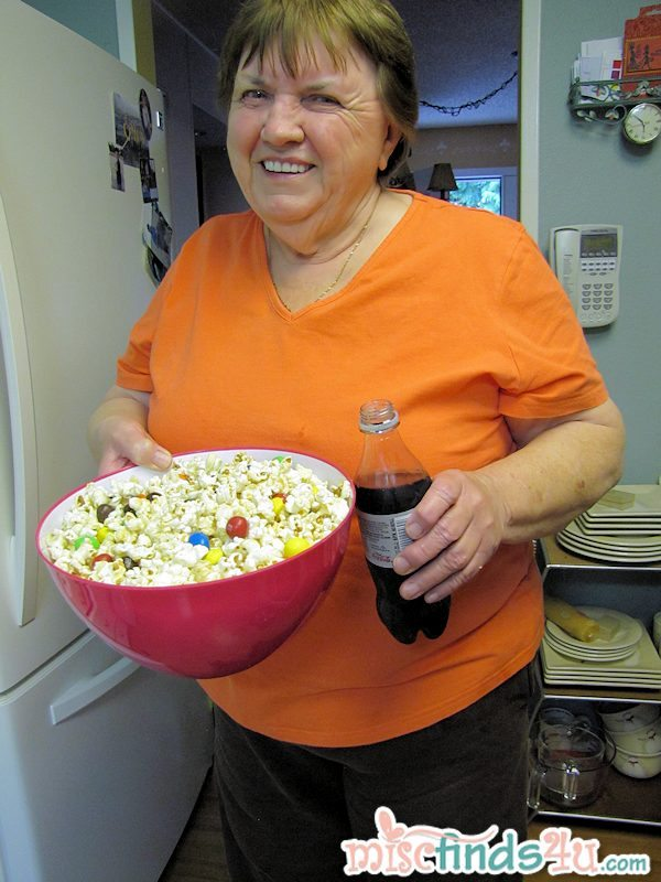 Mom and our snack - ready for movie night!