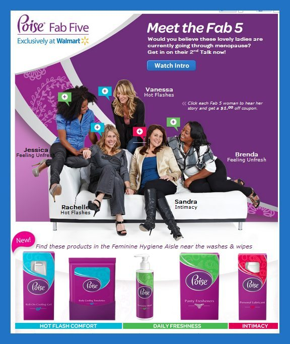 Visit the Poise Fab 5 Page at Walmart.com for information and coupons