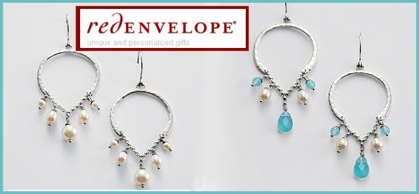 Pear Chandelier Earrings - mother-of-pearl stones or a combination of pearls and blue chelsy beads. Exclusively from RedEnvelope.
