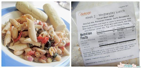 Diet-to-Go Meals arrive with the nutritional information and reheating directions on the package