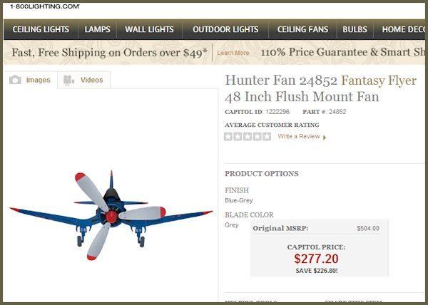 Hunter Fans Fantasy Flyer Airplane Fan - my favorite kids room or playroom fan hands down!