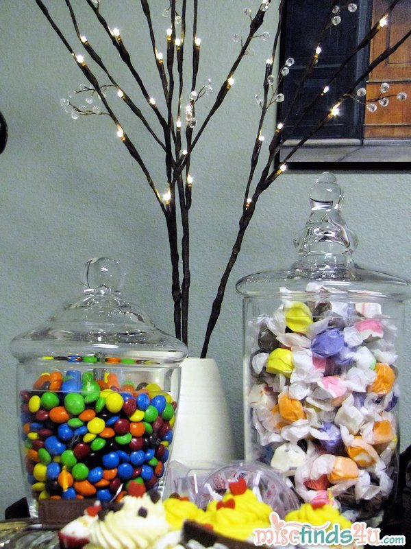 "The candy side of the dessert bar with my fab-find battery operated ""branches"" with ""crystals"" - they look fabulous in person"
