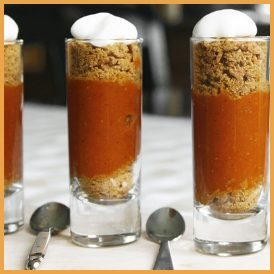 Mini Pumpkin Pie Shooters with Gingersnap Crust
