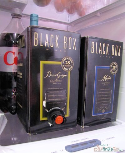 Black Box Wine - shorter than a traditional wine bottle and a 2-liter bottle