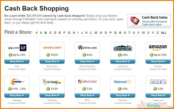 Here's a sampling of the online stores available through FatWallet - there are hundreds more.