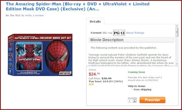 Pre-order Exclusive at Walmart for The Amazing Spider-man