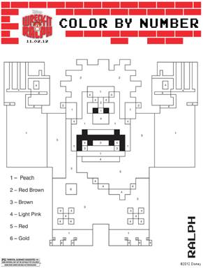 Wreck-it-Ralph Color-by-Number Coloring Sheet
