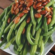 Green Beans with Roasted Peppers, Basil, Almonds, and Garlic