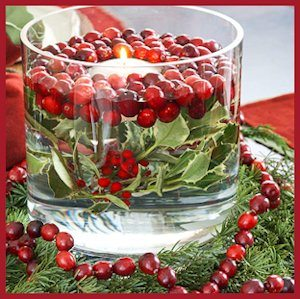 Cranberry Candle Arrangement and Vase Filler for the Holidays - by BH&G
