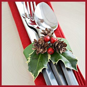 Cranberry and Holly Silverware and Napkin Ring Wrap