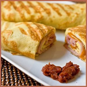 Ham, Egg, and Cheddar Breakfast Crepes done Panini-style by PaniniHappy