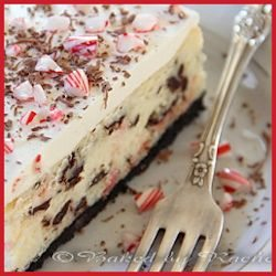 White Chocolate Peppermint Bark Cheesecake  by Baked by Rachel