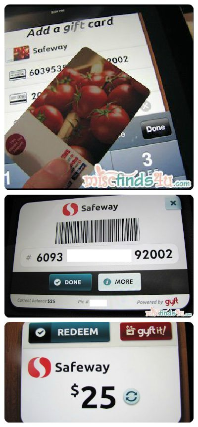 Entering my Safeway Gift Card into the gyft.com App