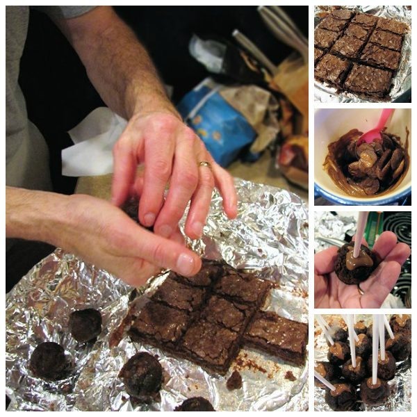 Brownie Shaping - sampling was happening prior to rolling into balls. We knew they were going to be delicious!