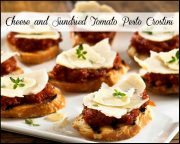 Cheese and Sundried Tomato Pesto Crostini Appetizers