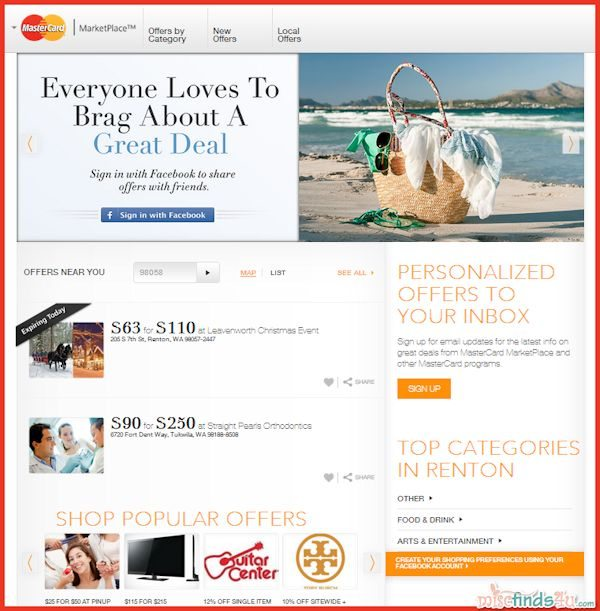 Great everyday and holiday deals and discounts are available at the MasterCard MarketPlace