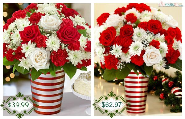 Pro Flowers' Standard and Deluxe Edition of the same bouquet - more blooms are included in the arrangement on the right.