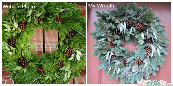 Pro Flower Wreath Comparison - the website photo on the left and the photo of the wreath I received on the right on my front door.