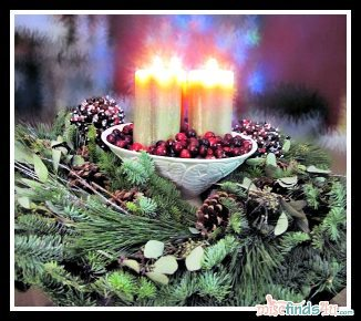 Holiday Wreath and Candle Centerpiece