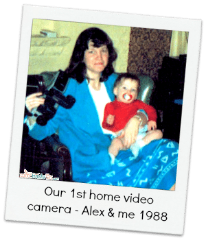 Alex and me in 1988 with our first home video camera - so large you shot with it on your shoulder