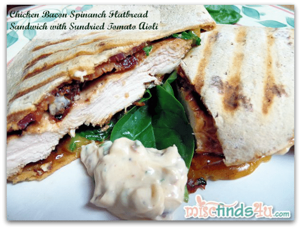 Chicken Bacon Spinach Flatbread Sandwich