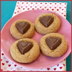 Chocolate Heart Peanut Butter Cookies by Recipe Boy