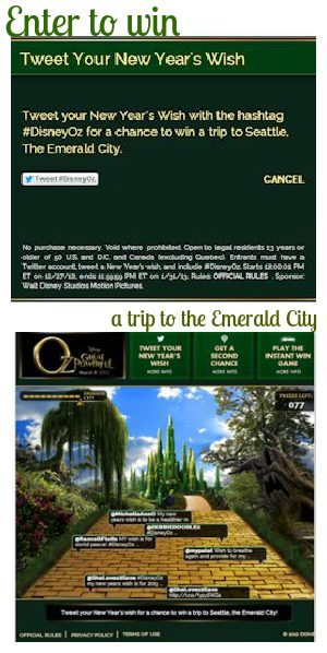Disney Oz Emerald City Sweepstakes Info