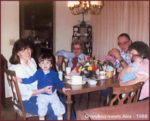 Grandma Meets my son Alex 1988 in her apartment in town