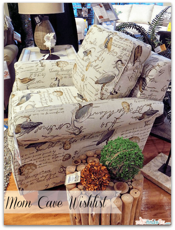 #Cbias #momcave Mom Cave Wish List - Bree Stationary Occasional Chair covered in Birdsong (one of many choices available for this chair)