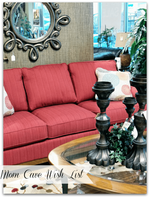 #Cbias #momcave Mom Cave Wish List - Kennedy Supreme Comfort Queen Sleeper sofa with silver accents. Time to get the bold color off the wall an onto the sofa?