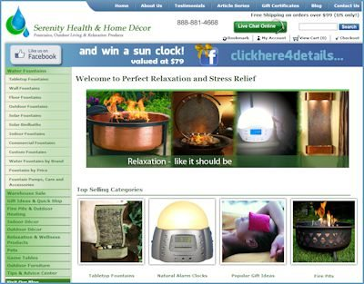 Serenity Health & Home Decor Website