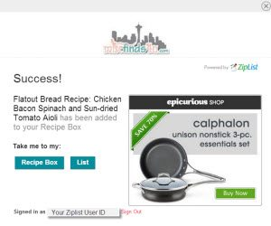 Adding recipes from participating sites is just a click away!