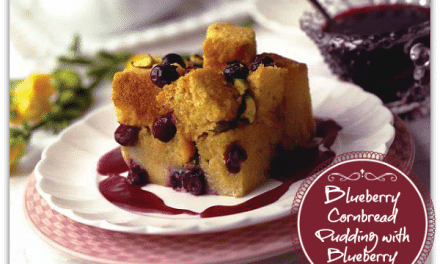 Breakfast Recipes: Blueberry Cornbread Pudding with Blueberry Sauce