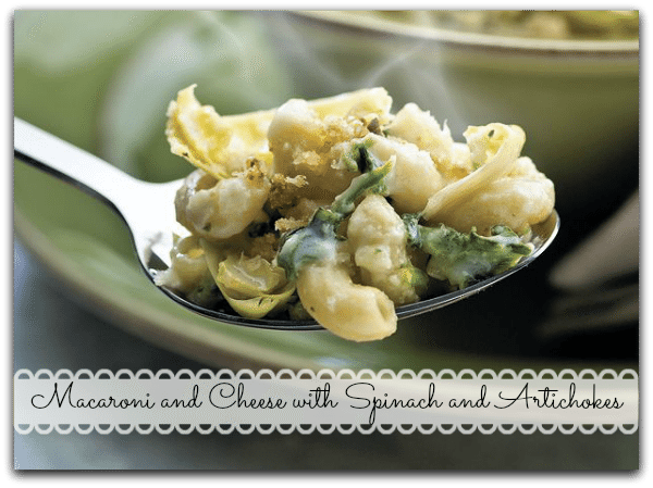 Macaroni and Cheese Casserole with Spinach and Artichokes Recipe