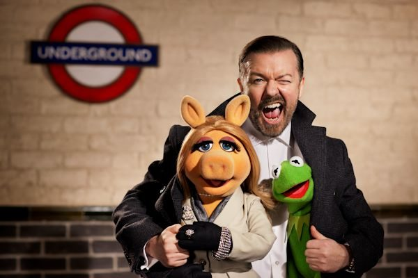 "ALL ABOARD! -- Disney's ""€œThe Muppets Again!""€ takes the entire Muppets gang on a global tour where they find themselves unwittingly entangled in an international crime caper. Starring Ricky Gervais, Ty Burrell and Tina Fey, the all-new big-screen adventure hits theaters March 21, 2014. Photo by: Greg Williams ©2013 Disney Enterprises, Inc. All Rights Reserved."