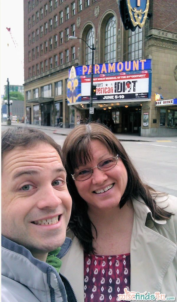Brian and I at the Paramount Theatre in Seattle - we were volunteers there for a few years when he was in high school
