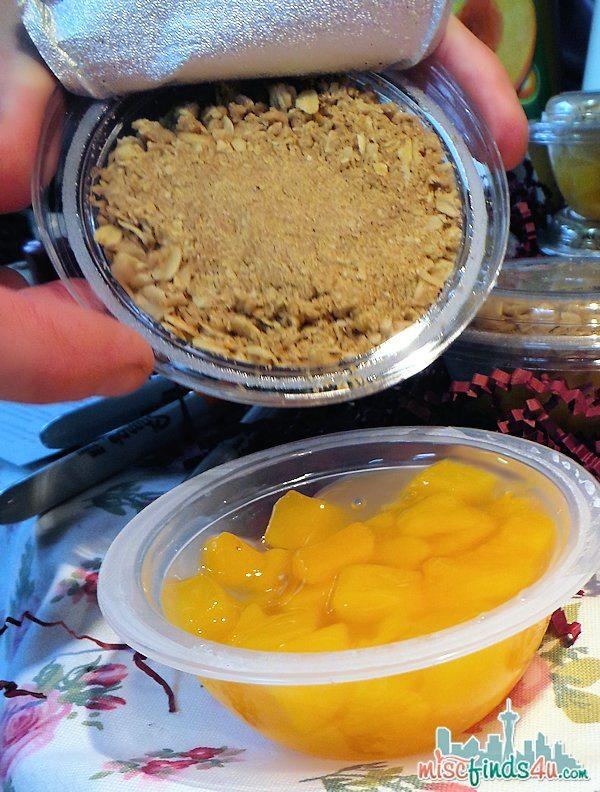 Preparing the Peach DOLE Fruit Crisp - open, pour, enjoy!