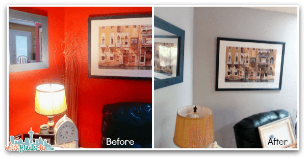 "Before/After Living Room as part of the PPG Pittsburgh Paints The Voice of Color ""Refresh Your Space"" challenge"